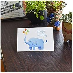 Grußkarte 1 pc Geburtstag Grußkarte Einladungskarte Geschenkkarte mit Umschlag (Elefant) Jahrestagskarte