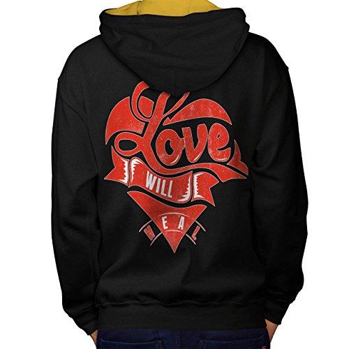 Liebe Wille Heilen Valentine Gebrochen Herz Men S Kontrast Kapuzenpullover Zurück | Wellcoda (Ferien Party Kostüme Ideen)