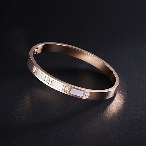 Acier Inoxydable Bracelet, Conch Chromatique Rectangulaire, 190mm Or Rose