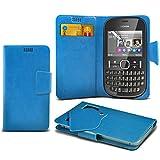 (Baby Blue) Nokia Asha 201 Super sottile Faux aspirazione del cuoio del rilievo del raccoglitore di caso della copertura della pelle con credito / debito Slot CardBy Fone-Case