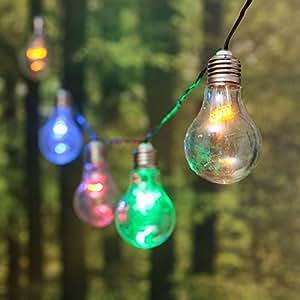 Guirlande Guinguette 5 m, 10 ampoules miniled multicolor, câble vert, prolongeable