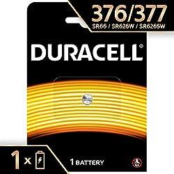 Pile oxyde d'argent Duracell spéciale 377/376 1,55V, pack de 1 (SR66 / SR626 / V377 / V376 / SR626W / SR626SW) conçue pour une utilisation dans les montres, calculatrices et dispositifs médicaux