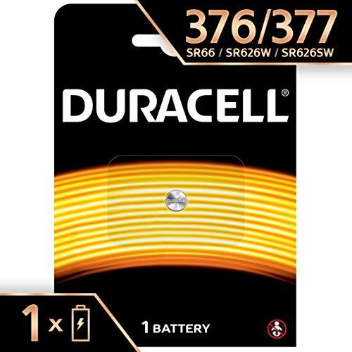 Pile oxyde d'argent Duracell spéciale 377/376 1,55 V, pack de 1 (SR66 / SR626 / V377 / V376 / SR626W / SR626SW) conçue pour une utilisation dans les montres, calculatrices et dispositifs médicaux