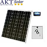 80W AKT Solar Panel Kit with 10A charge controller and 5m wires - Complete kit for a 12V system e.g. in a Caravan, Boat or Outhouse