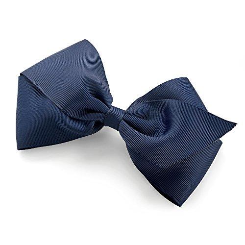 navy-blue-colour-bow-ribbon-hair-clip-grip-slide-14cm