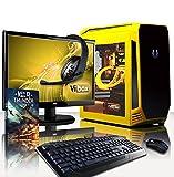 VIBOX Centre Paquet 4.38 Gaming PC - 4,2GHz CPU 4-Core AMD, GPUGTX1050, Avanzado, Ordenador de sobremesa Gaming con enfriador por agua vale de juego, con monitor, Iluminaciàninterna amarillo (4,2GHz Overclocked Procesador CPU Quad 4-Core AMD FX 4300, Nvidia GeforceGTX1050 2 GB TarjetagráficaGPU, 8 GB 1600MHzDDR3RAM, Discoduro1TB, RaijintekTritonenfriador de líquido, 85+ PSU400W, CajaBitfenixAegis, Ningún sistema operativo)