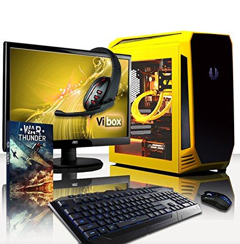 VIBOX Precision Pack 6.38 PC Gamer - 4,2GHz CPU AMD FX 4-Core, GPU GT 710, Budget, Ordinateur PC de Bureau Gaming avec Watercooling paquet de jeux, avec Écran, Éclairage Interne Jaune (4,2GHz Overclocké Processeur CPU Quad Core AMD FX 4300 Ultra Rapide, Carte Graphique Dédiée Nvidia GeForce GT 710 1 Go, 8 Go RAM Team Elite 1600MHz DDR3, Disque Dur 1 To, Refroidissement Liquide Raijintek Triton, PSU 400W 85+, Boîtier Bitfenix Aegis, Pas de Système d'Exploitation Windows)