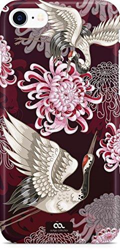 Moonworks® Handyhülle iPhone 7 Hülle Blumen Blüten Kranich Vögel Japan Handy Hardcover Hardcase Schutzhülle Kranich weiß Japan Vogel