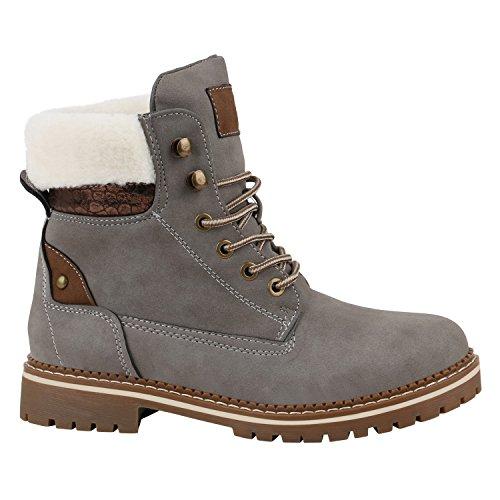 Warm Gefütterte Damen Stiefeletten Fell Worker Boots Outdoor Schuhe 152531 Grau Metallic 39 Flandell