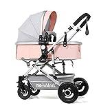YXINY Kombikinderwagen Kinderwagen Hohe Landschaft Leicht Kann Sitzen Liegend Falten Stoßfest Vier Runden Kinderwagen Baby Buggy ( Farbe : Grau )