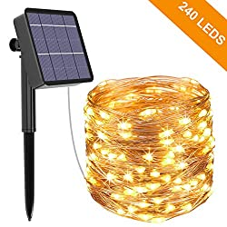 Solar Fairy Lights Outdoor, Kolpop 24M 240 LED Outdoor Waterproof Copper Wire String Lights for Christmas Parties Garden Weddings Decoration, Warm White