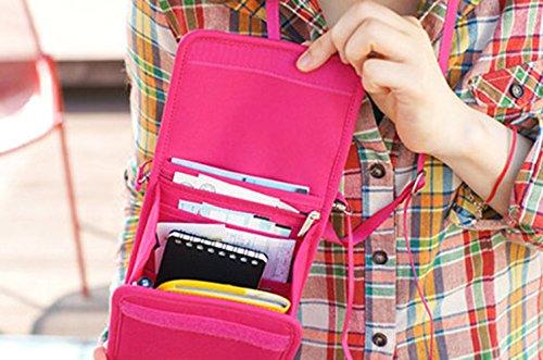 Comfysail Unisex Brustbeutel Organizer für Reisepass RFID Reise Leinwand Sicherheit Leichte Brustbeutel-Tasche Rose