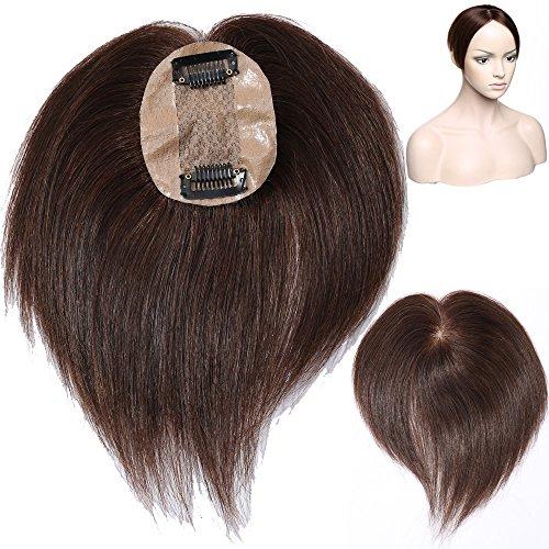 Human Hair Topper Toupet Extension Capelli Veri Clip Volumizzante Hairpiece Remy Human Hair Silk Base Mono Top 6cm x 9cm Parrucca Donna per Calvizia Perdita di Capelli, 4 Marrone Cioccolato