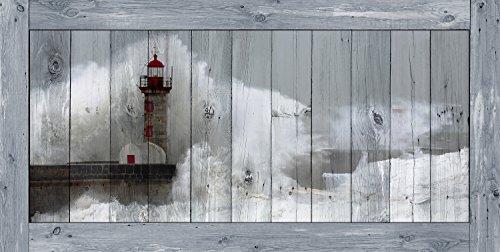 ARTESTOCK Cuadro Madera 120 x 60 cm. Lámina barnizada con Efecto Enmarcado en tablón de Madera.