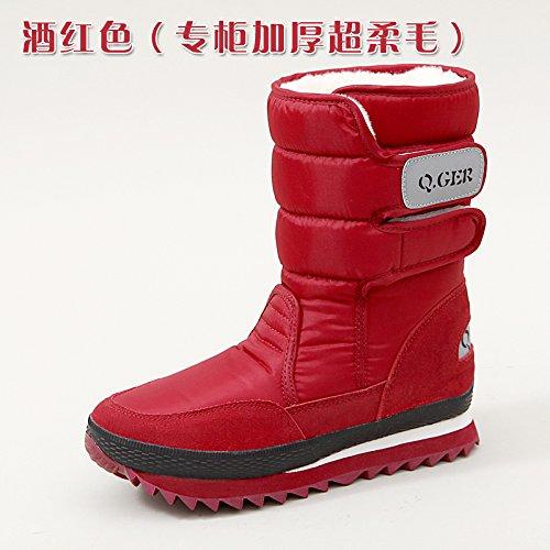 SQIAO-X- Inverno di spessore fondo piatto resistente allacqua anti-slip caldo, scarponi da neve e neve stivali scarpe di cotone Il vino rosso di spessore