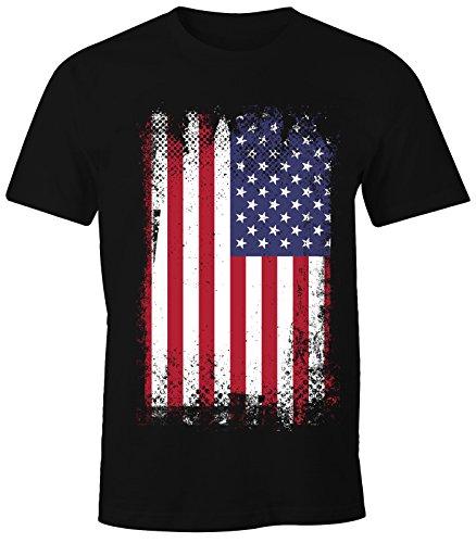 MoonWorks Herren T-Shirt - Amerika Flagge USA Flag United States of America - Comfort Fit schwarz XS