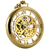 ManChDa Vintage Abierto de la cara Reloj de bolsillo Steampunk Esqueleto mecánico Viento de la mano Delicada Movimiento visible para los hombres Mujeres con cadena + Caja de regalo