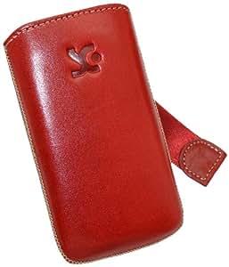 Original Suncase Echt Ledertasche (Lasche mit Rückzugfunktion) für Samsung GT S5230 Star / S-5230 in rot