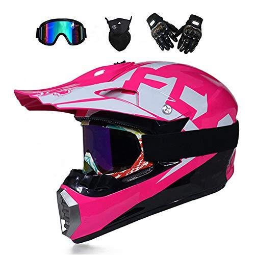 TKGH Motocross Helm mit Visier Brille Handschuhe Maske, Full Face Motorrad-Helm für Off-Road Enduro Schutzhelm Moped ATV BMX Sport Adventure Mountain Motorrad Cross Helm Set Damen Herren,Pink,M (Motorrad Helm Pink)