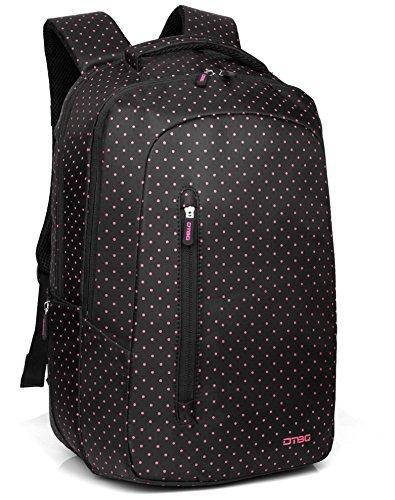 Frauen Laptop Rucksack mit rosa Polka Dot, DTBG 15,6 Zoll Casual leichte Laptop Rucksack Student Lehrbuch Daypack Reise Rucksack Fit bis zu 15 - 15,6 Zoll Zoll Computer / HP / Dell / Lenovo / Asus