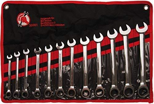 Kraftmann 30001 | Jeu de clés mixtes à cliquet | 8 - 19 mm | 12 pièces