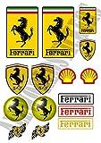 AWS Kit 15Stickers Aufkleber Replica Ferrari Wasserdicht für Auto Motorrad in 2Formaten ausgeschnittenen dem Plotte