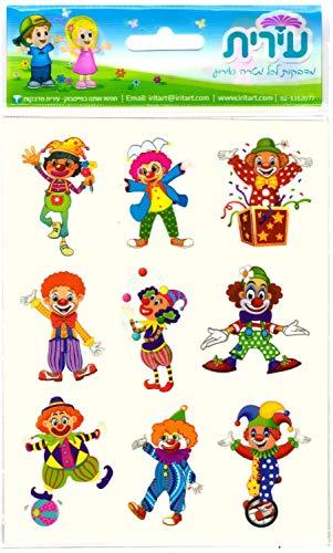Bunte schöne Clowns-Aufkleber in Blautönen 10 Bögen 90 Aufkleber. Perfekt für: Kunst, Handwerk, Spielzeug und Spiele, auch für jüdische Purim geeignet