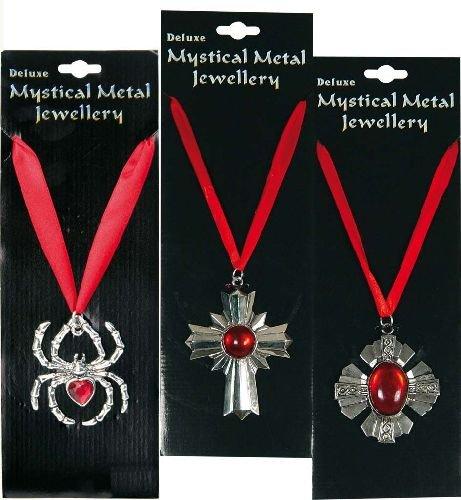 Vampir Medaille Gothic Kette Halskette Metall Anhänger Kreuz mit Schmuckstein (Mystische Zauberer Kostüm)