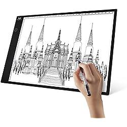 Tableta de Luz A4, SAVFY Mesa de Luz Niveles de Brillo Ajustables,Botón LED Inteligente, Tableta de Dibujo, Animaciones, Bocetos, X-Ray