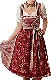 Midi Dirndl Romi in Rot von Marjo Trachten, Größen:40;Farbe:bordeaux - silber
