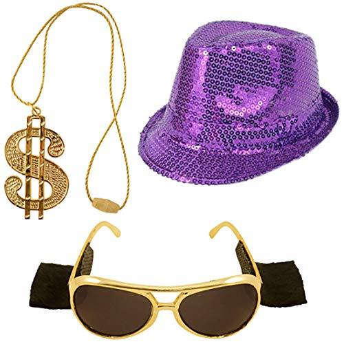 rren Pailletten Hut Brille Und Dollarzeichen Halskette Set Gangster Kost�m Einheitsgr��e ()