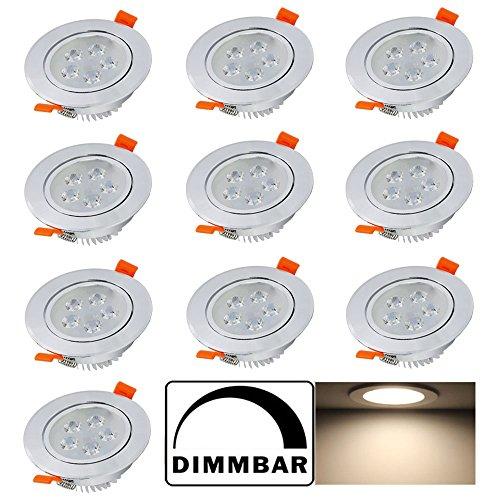 Hengda® 5W LED Einbauleuchten Dimmbar Einbauspots für decke Wohnzimmer bad Küche Rund Leuchte Lampen Warmweiß 2800-3200K, 10er Set
