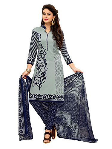 FabFactory Grey & Navy Blue Printed Synthetic Unstitched Salwar Suit Dress Material...