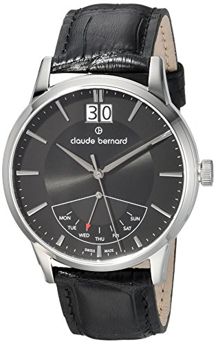 claude bernard Mens Analog Swiss-Quartz Watch with -Leather Strap 41001 3 NIN