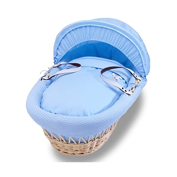 Izziwotnot Gift Blue on Natural Wicker Moses Basket Izziwotnot Lightweight and sturdy, it is finished with leather handles and can be moved around the home with you to keep baby close A stylish, fresh blue moses basket, with simple tone on tone textures and a fresh white basket Creates the perfect sleeping environment for the baby 1