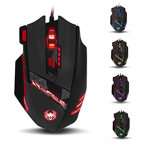 Gaming Maus (T-90), VIFLYKOO 9200 DPI Optische USB Wired Gaming Maus mit 8 Tasten und 13 Arten von Light Modi für PC Macbook