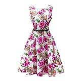 Vintage Blumenkleid, Lylafairy Damen A-Linie 50er Vintage Abendkleid Rockabilly Kleid Knielang Festliches Pin Up Kleid Partykleider Cocktailkleider (44, 11Rot Blumen) Bild