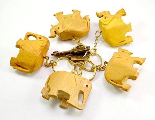 Un conjunto de 5de madera tallada a mano elefante llavero, llavero, titular de la clave llavero