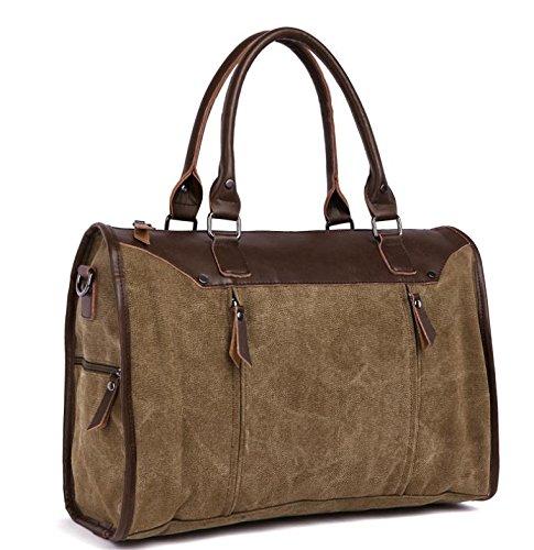 &ZHOU Segeltuchtasche, Dickem Canvas Tasche große Kapazität Freizeitmode tragbares Schulter diagonal Reisetaschen unisex coffee color