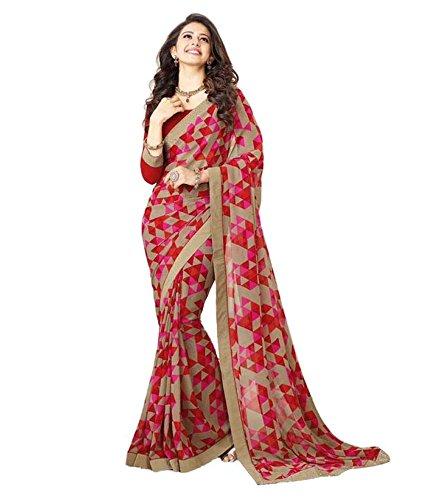 Nirjas Designer Women's Chiffon Saree With Blouse Piece (Gazalprint_A_Red)