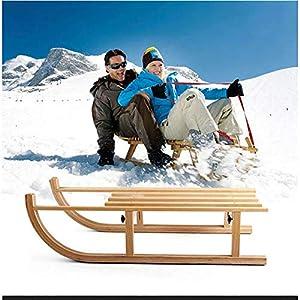 ZHAOK Rodelschlitten Buche Hartholz Schlitten Snowboard-Geschenk für Kinder und Erwachsene für Winter-Outdoor Fun – Eisauto Schlitten aus massivem Holz