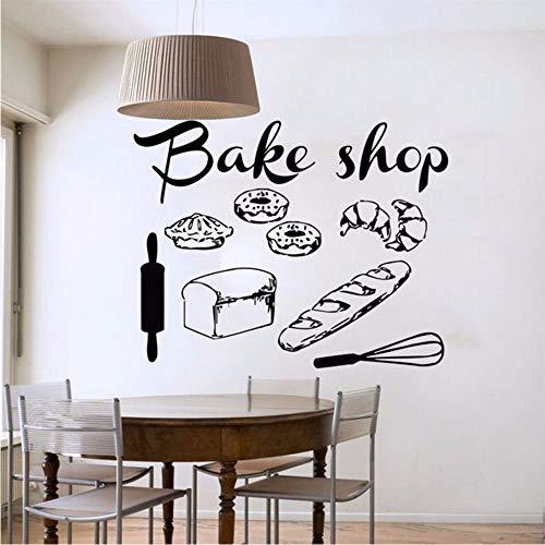 Shop Vinyl Wandtattoo Bäckerei Küche Cafe Shop Zeichen Brot Kuchen Wandbild Kunst Wandaufkleber Bäckerei Schaufenster Glas Dekoration 56 * 72 Cm Zxfcczxf