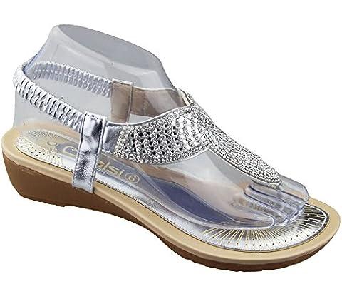 Womens Low Wedge Toe Post Sandals Ladies Diamante Summer Shoes Silver Size UK 5 EU 38 US 7