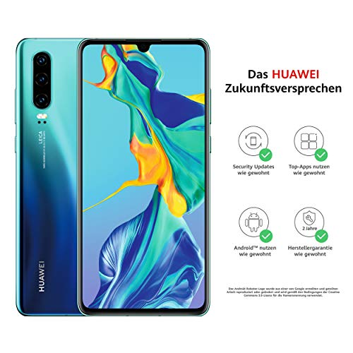 HUAWEI P30 Dual-SIM Smartphone Bundle (6,47 Zoll, 128 GB ROM, 6 GB RAM, Android 9.0) Aurora + USB-Adapter [Exklusiv bei Amazon] - DE Version - 6 Gb Ram