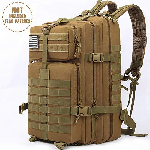 Songwin 43L Militärischer taktischer Rucksack,Kompakt & wasserdicht Barbarians Molle Tasche Armee Assault Rucksack für Outdoor Wandern Camping Reisen. (Bräunen)