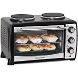 Andrew James Black 24 Litre Mini Oven And Grill With Double Hot Plates, Includes 2 Year Warranty