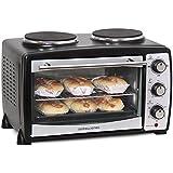 Andrew James - 23 Liter Mini Ofen und Grill mit 2 Kochplatten in Schwarz - 2900 Watt - 2 Jahre Garantie