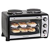 Andrew James Mini Oven And Grill With Double Hot Plates In Black, 2900 Watts, 24 Litre Capacity