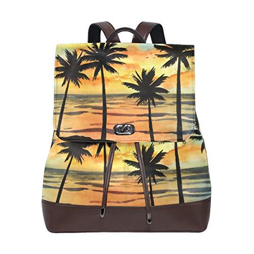 Flyup Watercolor Tropic Ocean and Palm Tree PU Leather Backpack Photo Custom Shoulder Bag School College Book Bag Casual Daypacks Diaper Bag for Women and Girl Frauen Leder Rucksack (Michael Kors Baby-kleidung)