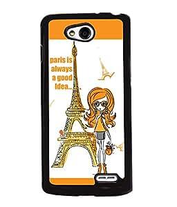 Fuson Eiffel Tower Girl Back Case Cover for LG L90 - D4082